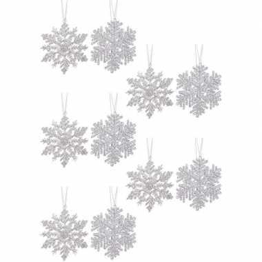 10x kersthangers figuurtjes zilveren kerst sneeuwvlok/ster 12 cm