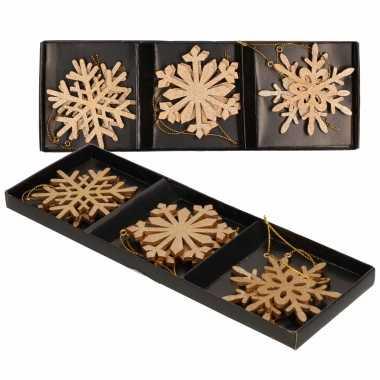 12x houten kerst sneeuwvlok kersthangers goud 7 cm kerstboomversiering
