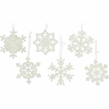 12x kersthangers/kerstornamenten witte kerst sneeuwvlokken 10 cm