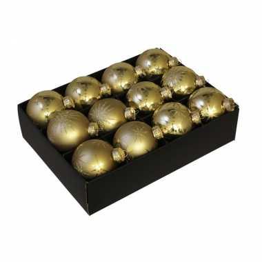 12x luxe glazen gouden kerst sneeuwvlokken/sterren kerstballen 7,5 cm