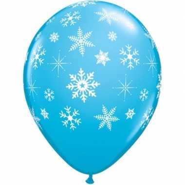 15x blauwe kerst sneeuwvlok ballonnen