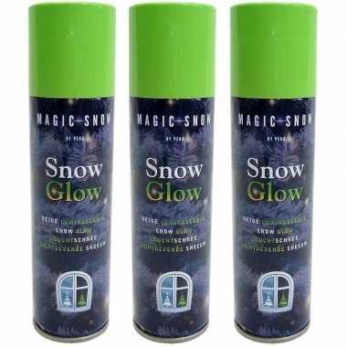 15x stuks glow in the dark kerst sneeuw spray 150 ml