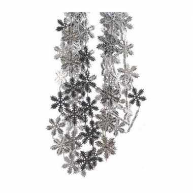 15x stuks kerst sneeuwvlok slingers zilver 270 cm