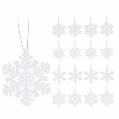 16x kersthangers figuurtjes witte kerst sneeuwvlok/ster 10 cm glitter
