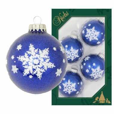 16x luxe blauwe glazen kerstballen glitter met witte kerst sneeuwvlok 7 cm
