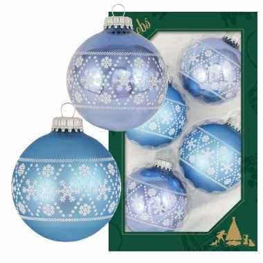 16x luxe blauwe glazen kerstballen met witte kerst sneeuwvlokken 7 cm