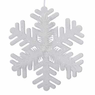 1x grote witte ijsbloemen/kerst sneeuwvlokken kerstversiering/kerstdecoratie 30 cm