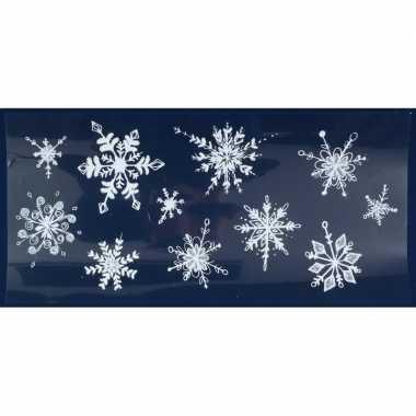 1x kerst raamversiering raamstickers witte glitter kerst sneeuwvlokken 23 x 49 cm