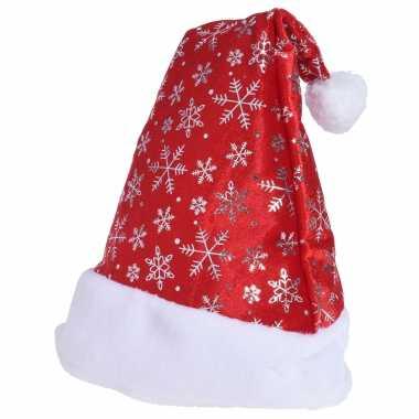 1x rode kerstmutsen met kerst sneeuwvlokken voor volwassenen