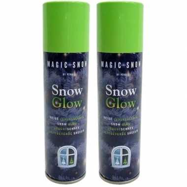 2x glow in the dark kerst sneeuw spray 150 ml