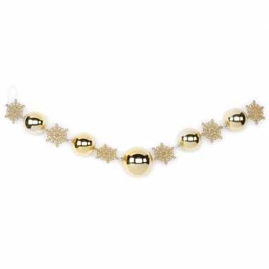 2x gouden decoratie slingers met kerstballen en kerst sneeuwvlokken 116 cm