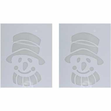 2x kerst raamsjablonen/raamdecoratie kerst sneeuwpop hoofd 35 cm