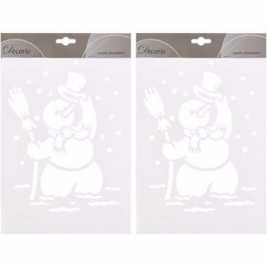 2x kerst raamsjablonen/raamdecoratie kerst sneeuwpop plaatjes 30 cm