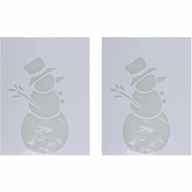 2x kerst raamsjablonen/raamdecoratie kerst sneeuwpop plaatjes 35 cm