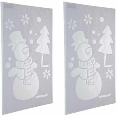 2x kerst raamsjablonen/raamdecoratie kerst sneeuwpop plaatjes 54 cm