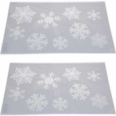 2x kerst raamsjablonen/raamdecoratie kerst sneeuwvlokken 54 cm