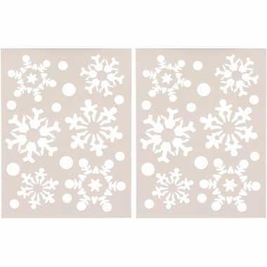 2x kerst raamsjablonen/raamdecoratie kerst sneeuwvlokken plaatje 30 c