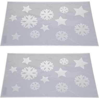 2x kerst raamsjablonen/raamdecoratie kerst sneeuwvlokken plaatjes 54c