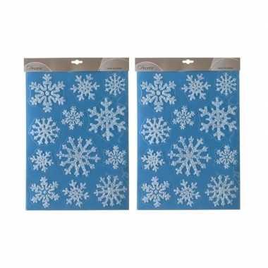 2x kerst raamstickers/raamdecoratie kerst sneeuwvlok plaatjes 30 x 40