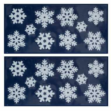 2x kerst raamversiering raamstickers witte kerst sneeuwvlokken 23 x 49 cm
