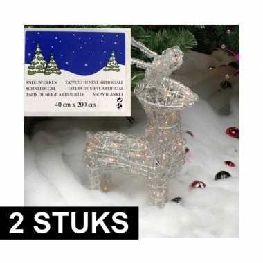 2x kerst sneeuwdeken / kerst sneeuwtapijt 200 x 40 cm