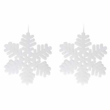 2x kerst sneeuwvlok kerst sneeuw hangdecoratie versiering wit 30 cm