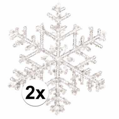 2x kerstboom decoratie kerst sneeuwvlok hangers 18 cm transparant