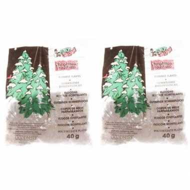 2x kerstboom versiering glitter kerst sneeuwvlokjes 40 gram