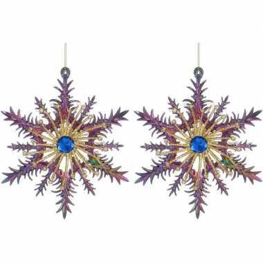 2x kersthangers figuurtjes acryl kerst sneeuwvlok paars/blauw 14 cm