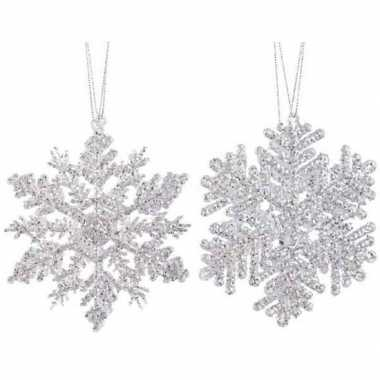 2x kersthangers figuurtjes zilveren kerst sneeuwvlok/ster 12 cm glitt