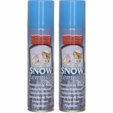 2x kunstkerst sneeuw/nepkerst sneeuw verwijderaar/reinigingsspray bussen 125 ml