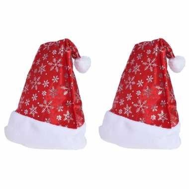 2x rode kerstmutsen met kerst sneeuwvlokken voor volwassenen