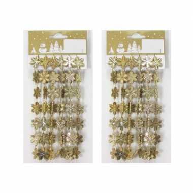 2x stuks gouden kerst sneeuwvlokken guirlandes/slinger 180 cm kerstversiering