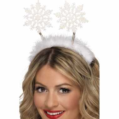 2x stuks kerst diadeem/tiara met kerst sneeuwvlokken