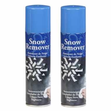 2x stuks kunstkerst sneeuw/kerst sneeuw remover/verwijderaar sprays 125 ml
