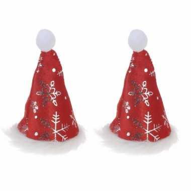 2x stuks mini kerstmutsjes met kerst sneeuwvlokken op clip