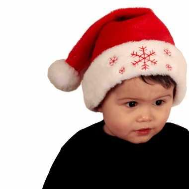 2x stuks rode baby kerstmutsen met kerst sneeuwvlokken