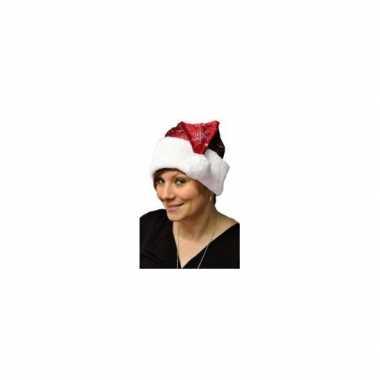 2x stuks rode kerstmutsen met kerst sneeuwvlokken voor volwassenen