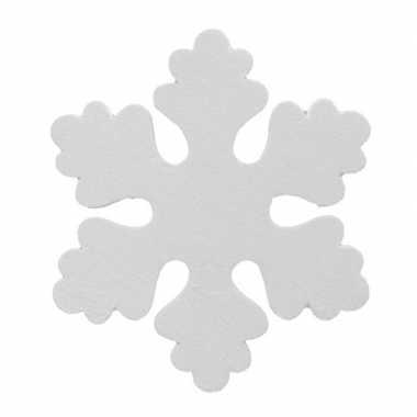 2x witte decoratie kerst sneeuwvlokken van foam 25 cm
