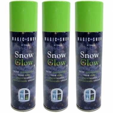 3x glow in the dark kerst sneeuw spray 150 ml