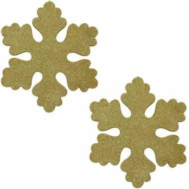 3x gouden decoratie kerst sneeuwvlok van foam 40 cm