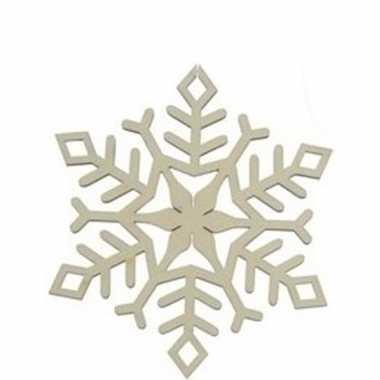3x houten kerst sneeuwvlok type 1 kerstversiering hangdecoratie 10 cm