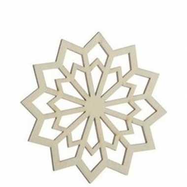 3x houten kerst sneeuwvlok type 4 kerstversiering hangdecoratie 9 cm