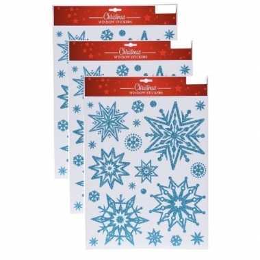 3x kerst raamstickers/raamdecoratie kerst sneeuwvlok plaatjes