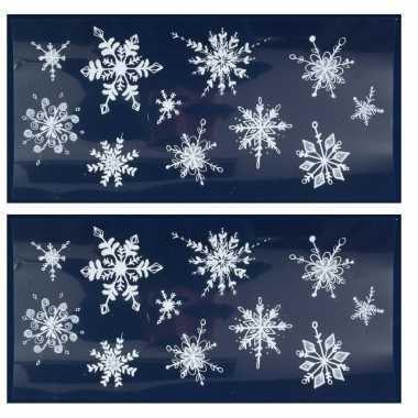 3x kerst raamversiering raamstickers witte glitter kerst sneeuwvlokken 23 x 49 cm