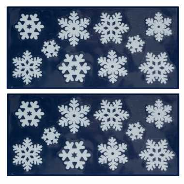 3x kerst raamversiering raamstickers witte kerst sneeuwvlokken 23 x 49 cm