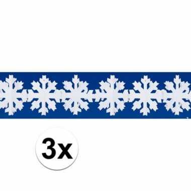 3x kerst sneeuw slinger 3 meter