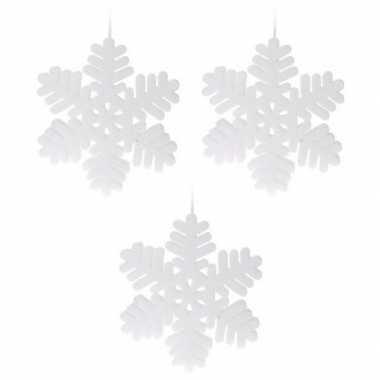 3x kerst sneeuwvlok kerst sneeuw hangdecoratie versiering wit 30 cm