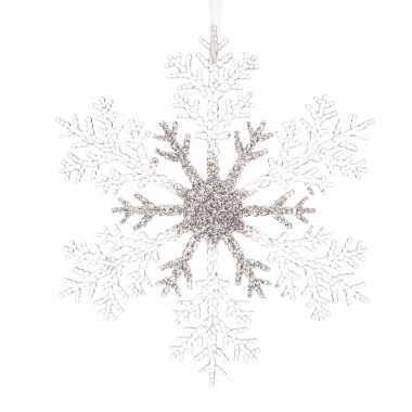 3x kerstboom decoratie kerst sneeuwvlok 21 cm transparant/zilver