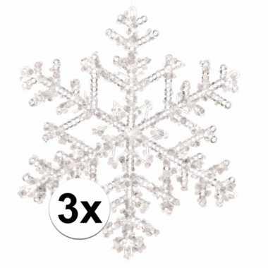 3x kerstboom decoratie kerst sneeuwvlok hangers 18 cm transparant